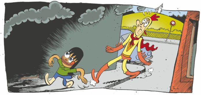 Hønsemannen er verdens reddeste superhelt. Likevel lar han seg overtale til å fakke Røykemannen. (Illustrasjon: No Comprendo Press)