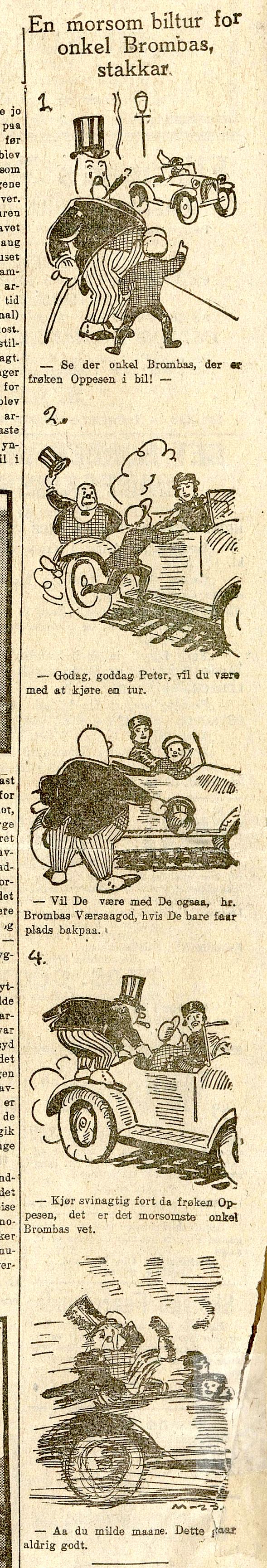 En morsom biltur for Onkel Brombas, stakkar, av Ivar Mauritz-Hansen.
